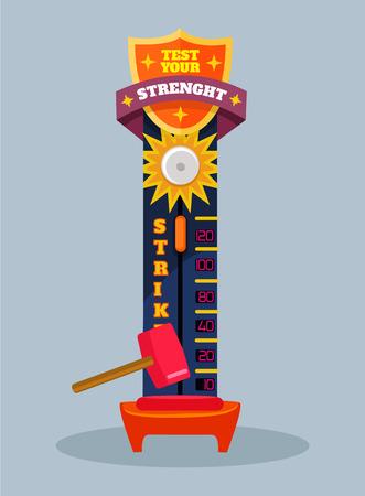 Test your strength. Vector flat cartoon illustration Illustration