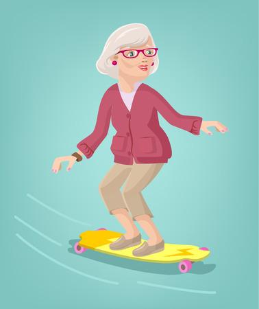 Patinador abuela. Vector ilustración de dibujos animados plana Vectores