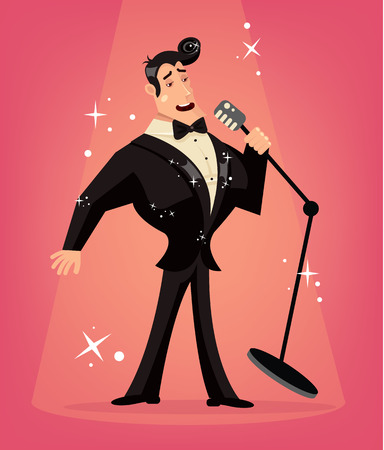 celebrity: Vector singer flat cartoon illustration