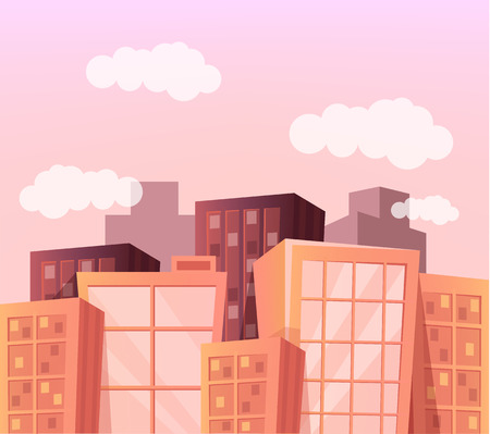 Sunset landscape vector: Vector cartoon city flat illustration