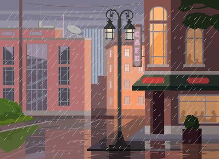 Città piovosa. Vector cartoon illustrazione piatta Archivio Fotografico - 43577335