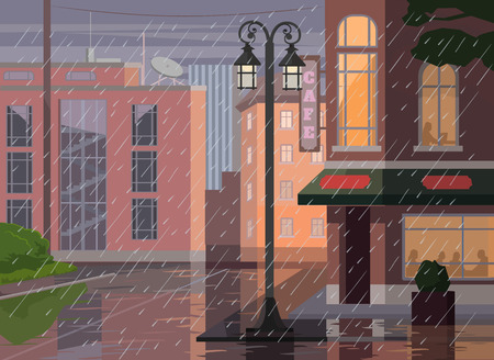 Regenachtige stad. Vector flat cartoon illustratie
