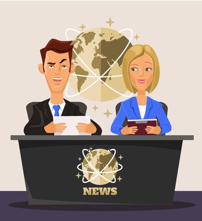 newsreader: TV News. Vector flat cartoon illustration
