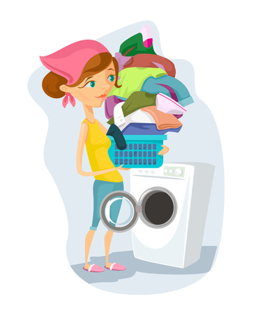clothes washer: Housewife washes. Vector flat cartoon illustration