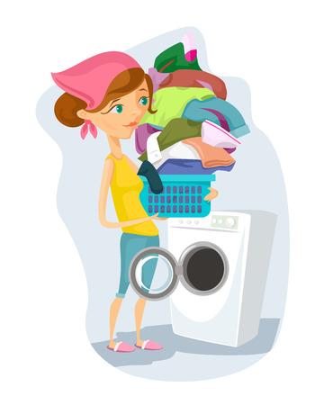 Housewife washes. Vector flat cartoon illustration