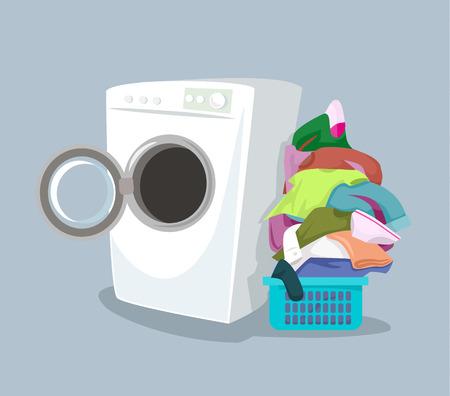 lavadora con ropa: Vector lavadora. Ilustración de dibujos animados plana