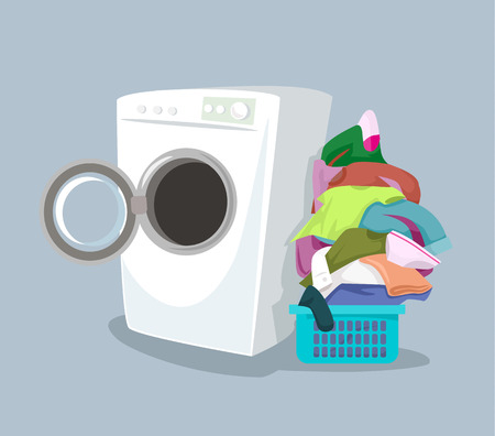 Vector washing machine. Flat cartoon illustration Çizim