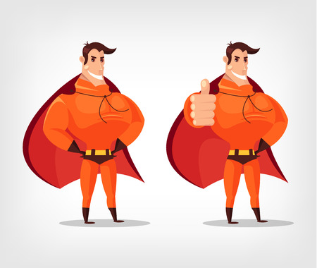 Superhero vector flat cartoon illustration set
