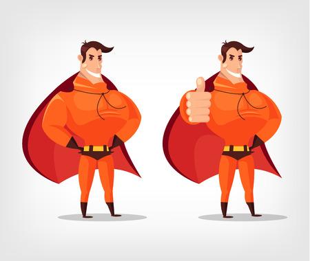 guard duty: Vector superh�roe de dibujos animados plana ilustraci�n conjunto