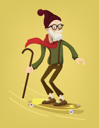 age old: Grandfather skater. Vector cartoon flat illustration