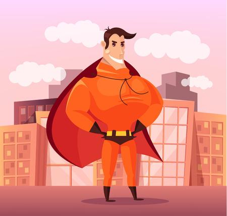 Superhero standing on roof. Vector flat cartoon illustration