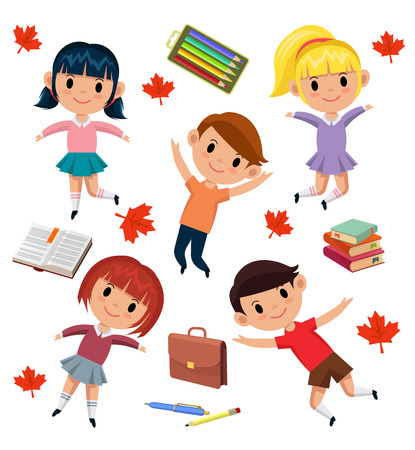 escuela infantil: Alumnos vectoriales fondo ilustración plana