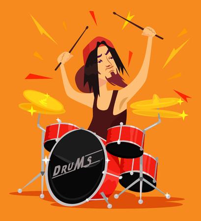 drummer: Vector drummer flat illustration