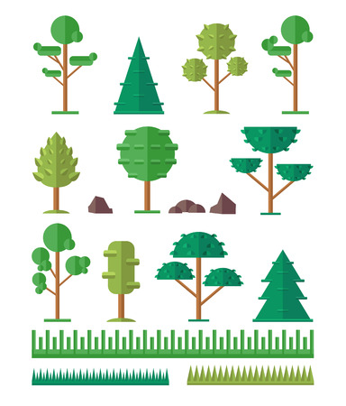 low: Vector trees flat icon set