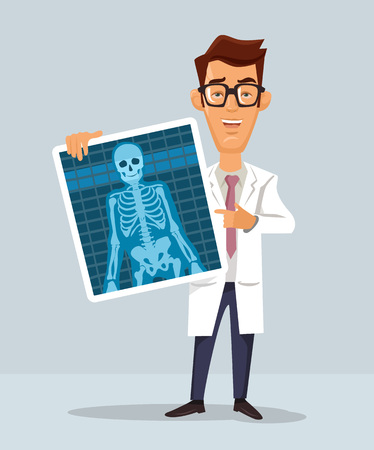 radiological: Doctor with x-ray. Vector flat illustration