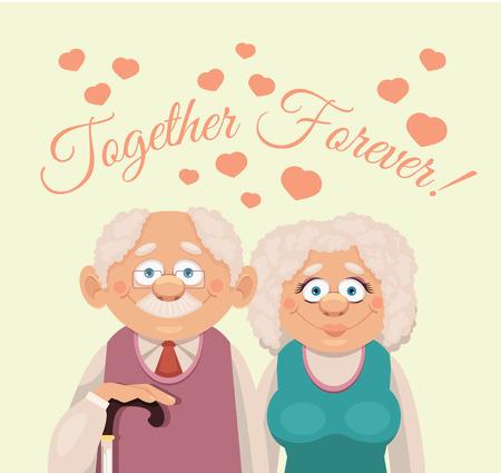 abuelos: Abuelos. Vector ilustración plana