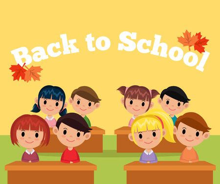 young schoolchild: Vector classroom flat illustration