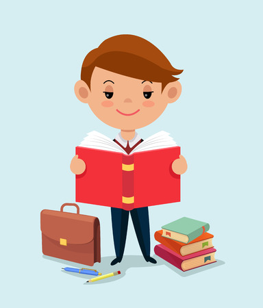 Schoolboy reading a book. Vector flat illustration