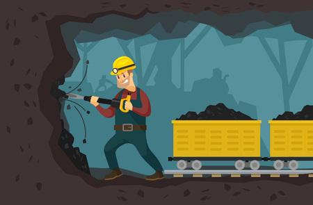 carbone: Illustrazione piatta Miniera vettoriale