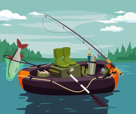 redes de pesca: Vector ilustración de la pesca plana Vectores