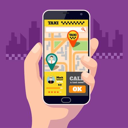 Taxi mobile app. Vector flat illustration Illustration