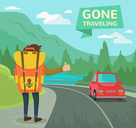 backpack: Hitchhiking tourism concept. Vector flat illustration