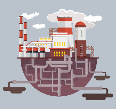 manufacturing: Industry factory. Vector flat illustration