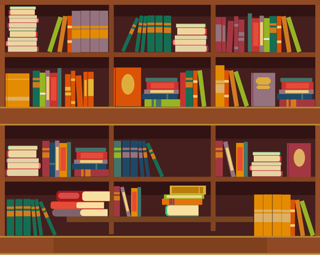 library shelf: Vector bookcase flat illustration Illustration