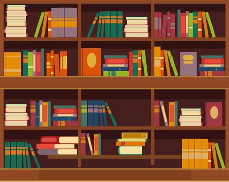 portadas de libros: Vector ilustración estantería plana