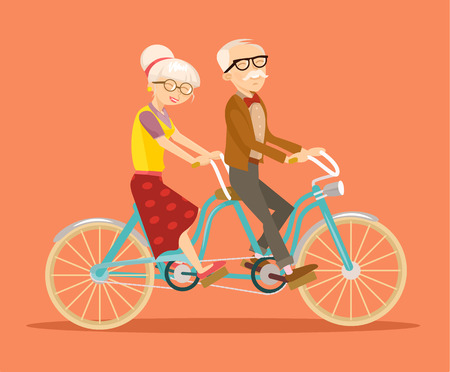 old lady: Grandparents on bicycle. Vector flat illustration