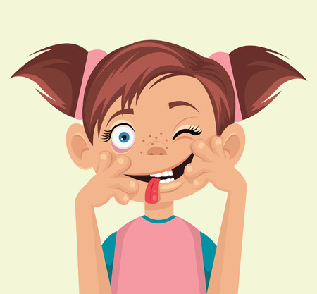 wry: Child makes faces. Vector flat illustration