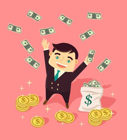 wealthy: Wealthy businessman. Vector flat illustration