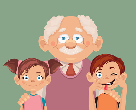 grandchildren: Grandfather and grandchildren. Vector flat illustration