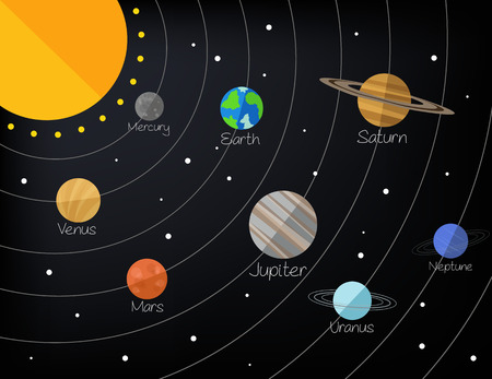 chart vector: Solar system. Vector flat illustration Illustration