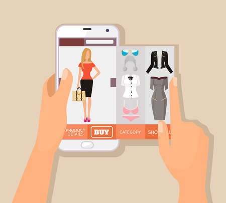 woman smartphone: Mobile app for online shopping. Vector flat illustration Illustration