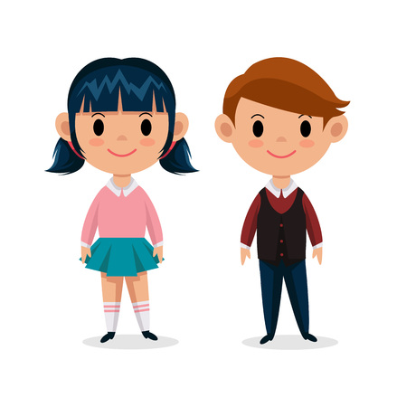 niño y niña: Niños Vector ilustración plana