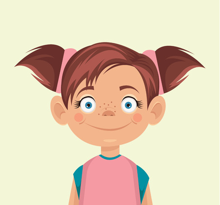 Vector little girl flat illustration Ilustracja