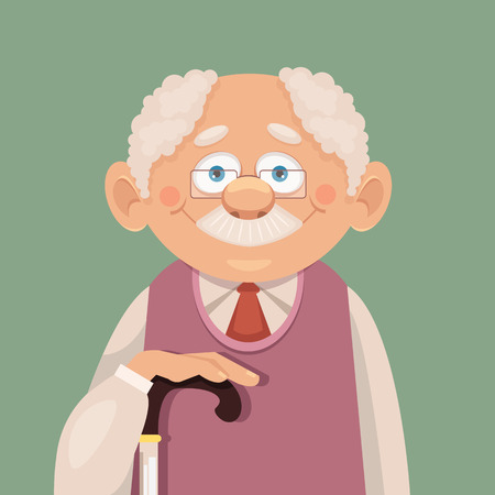 Vector grandfather flat illustration Çizim