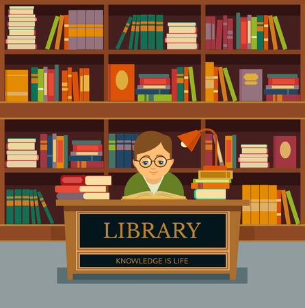 libraries: Vector library flat illustration