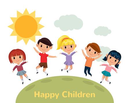 happy children: World kids. Vector flat illustration Illustration