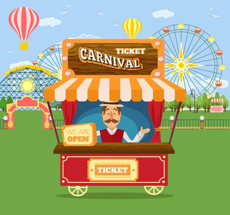 shop assistant: Amusement park. Vector flat illustration Illustration