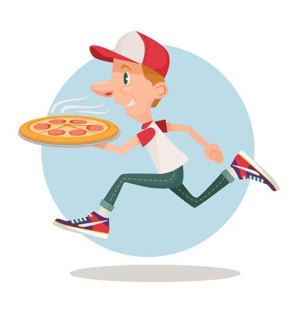 comida rapida: Entrega de pizza rápida. Vector ilustración de dibujos animados plana Vectores