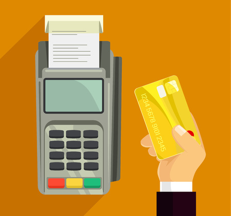 the reader: Credit card and pos terminal. Vector flat illustration