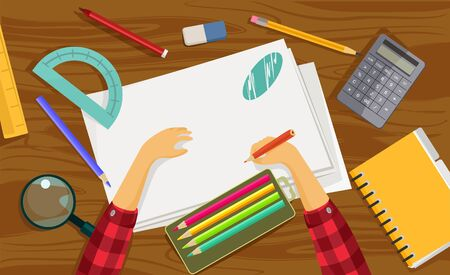 creative work: Workplace. Vector flat illustration