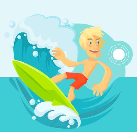 surf board: Vector surfer flat cartoon illustration