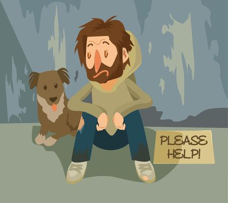 homelessness: Vector homeless flat illustration Illustration