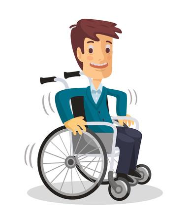 cadeira: Homem em cadeira de rodas. Vetor plana