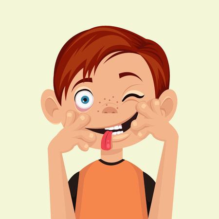 Kind maakt gezichten. Vector flat illustratie