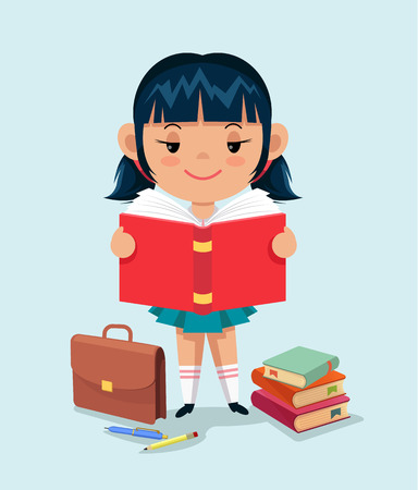 Schoolgirl reading a book. Vector flat illustration