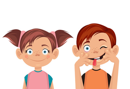 Brother and sister. Vector flat illustration Çizim